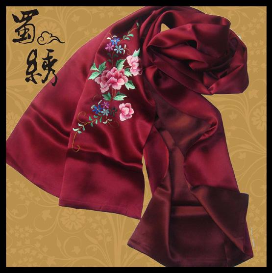 手工蜀绣围巾图片